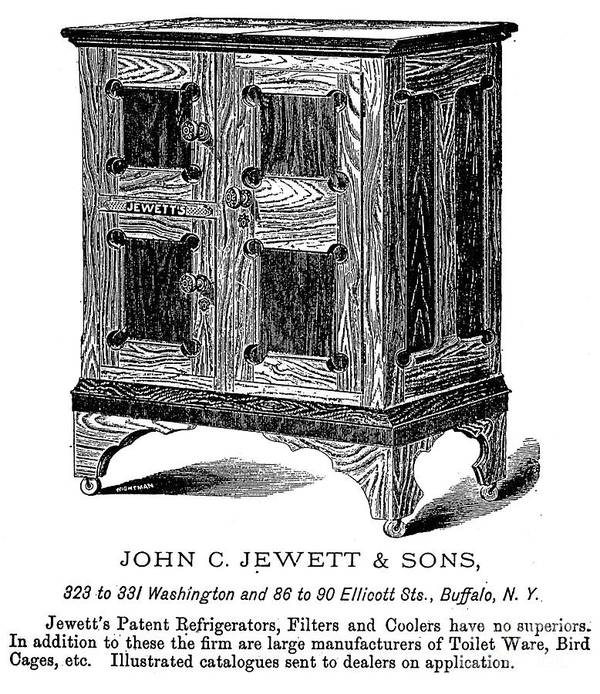 1876 Art Print featuring the photograph Refrigerator, 1876 by Granger