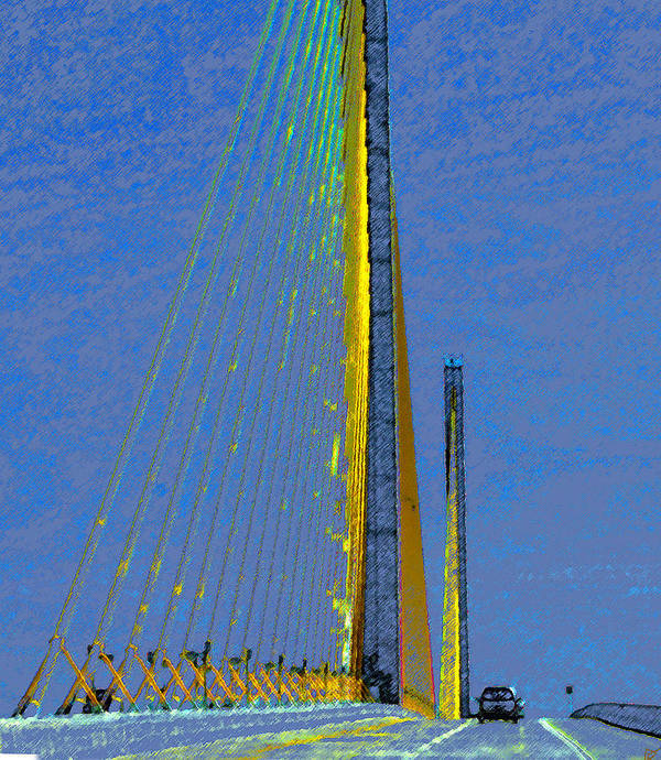 Art Art Print featuring the painting Skyway Crossing by David Lee Thompson