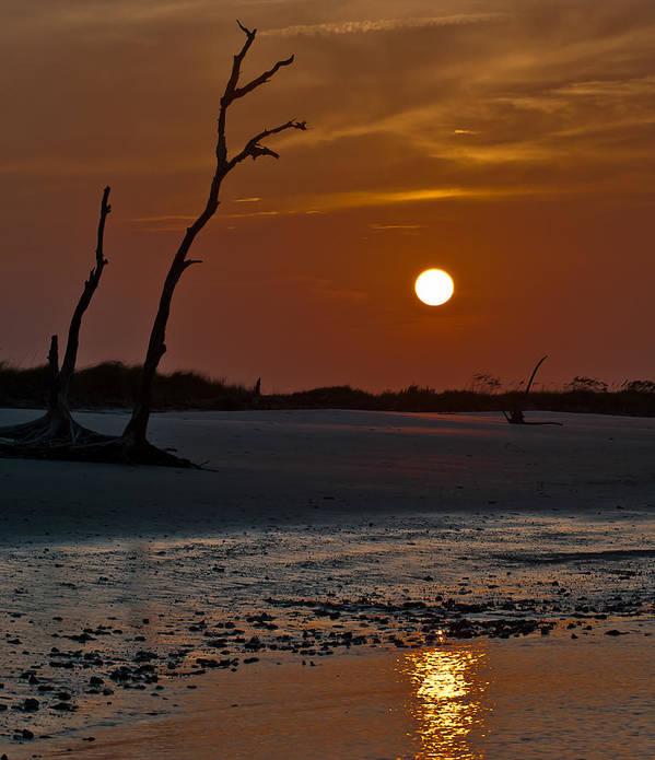 Folly Island South Carolina Sunset Water Reflection Orange Sky Sun Driftwood Trees Art Print featuring the photograph Sunset At Folly Island Sc by Richard Marquardt