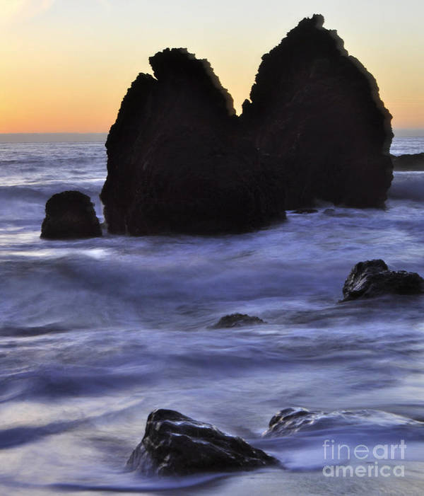 Sunset Art Print featuring the photograph Surreal Surf Cascading On The Rocks by Kim Frank