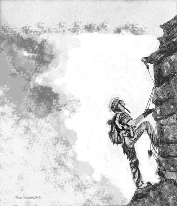 Pencil Art Print featuring the drawing The Climber by Jim Hubbard
