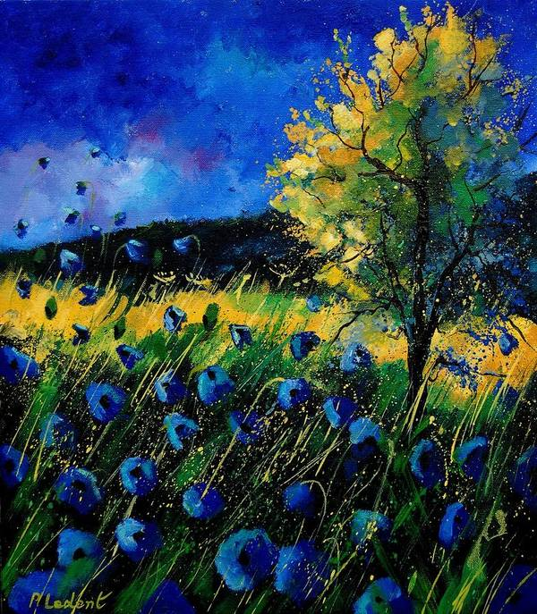 Poppies Art Print featuring the painting Blue Poppies by Pol Ledent