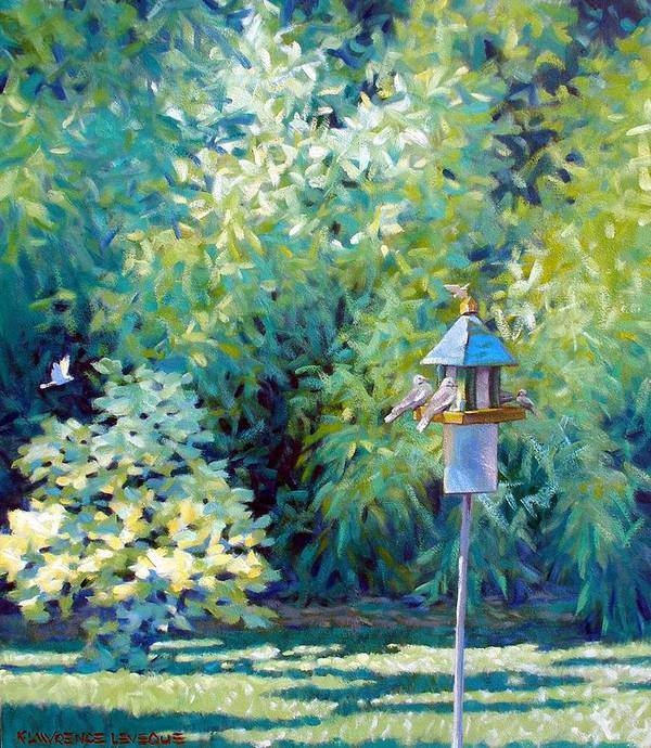 Birds Art Print featuring the painting The Bird Feeder by Kevin Lawrence Leveque