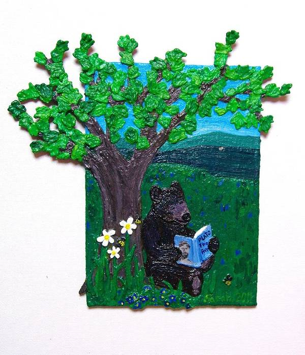 Brown Bear Art Print featuring the mixed media A Bear At His Books by Sarah Swift