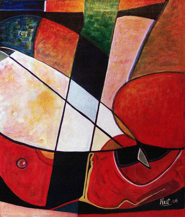 Abstract Art Print featuring the painting Abstraction II by Nest Lopes
