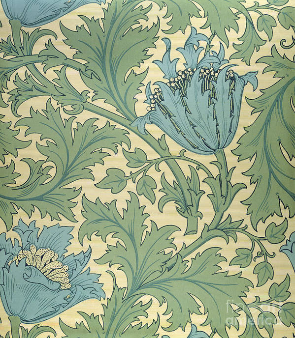 Arts And Crafts Movement; Floral; Pattern; Anemones Art Print featuring the tapestry - textile Anemone Design by William Morris