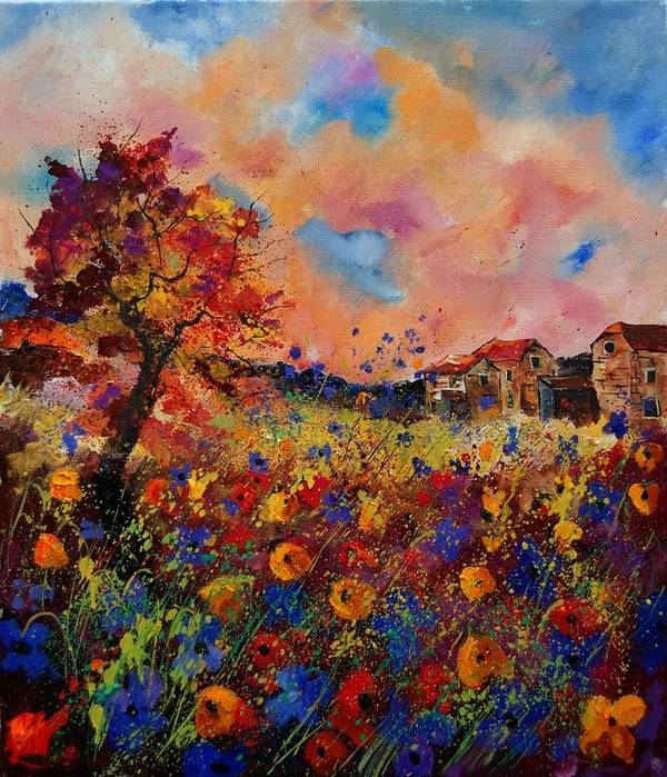 Poppies Art Print featuring the painting Autumn Colors by Pol Ledent