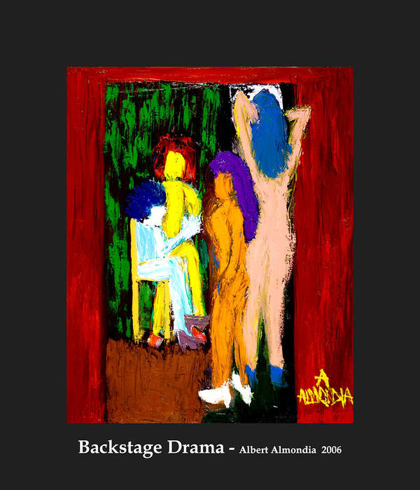 Femininity Art Print featuring the painting Backstage Drama by Albert Almondia