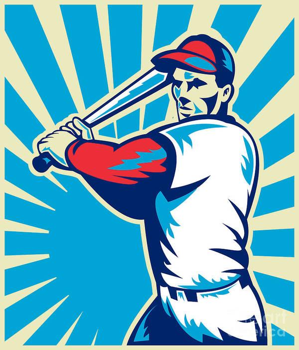 Baseball Art Print featuring the digital art Baseball Player Batting Retro by Aloysius Patrimonio