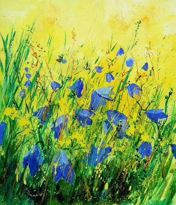 Poppies Art Print featuring the painting Blue Bells by Pol Ledent