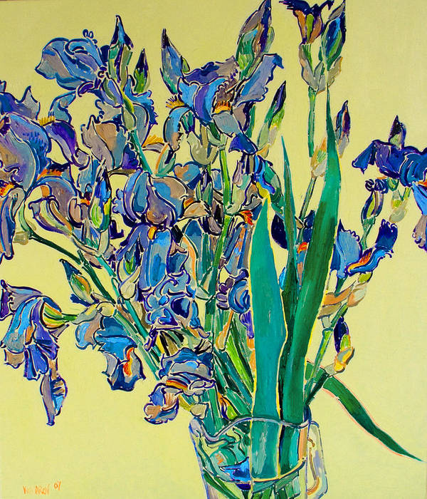 Irises Art Print featuring the painting Blue Irises by Vitali Komarov