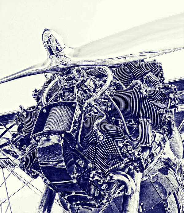 Airplane Art Print featuring the photograph Blueprint Radial by Steven Richardson
