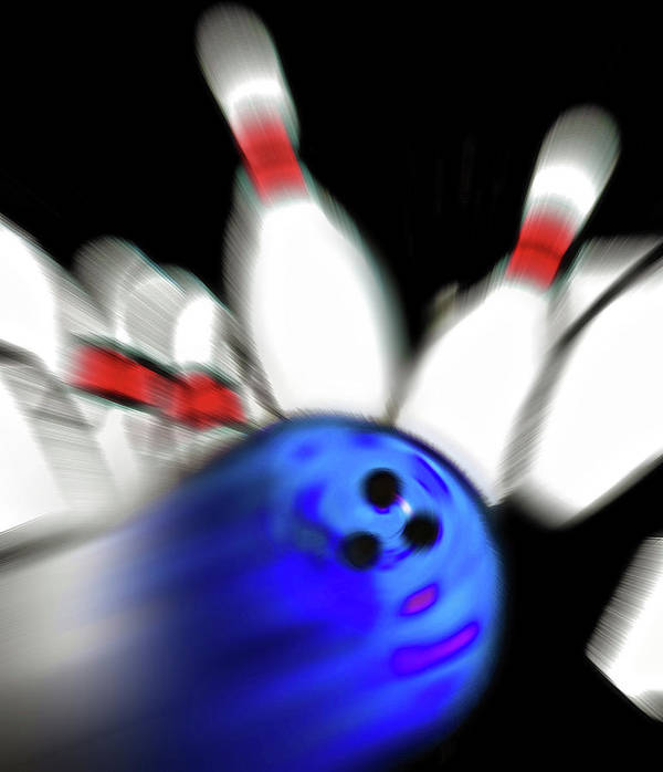 Bowl Art Print featuring the photograph Bowling Sign 2 - Strike by Steve Ohlsen