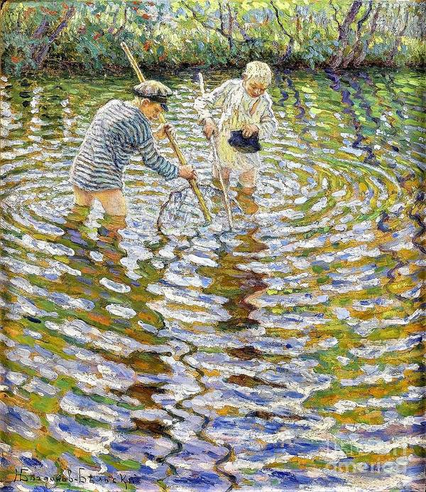 Pd: Reproduction Art Print featuring the painting Boys Fishing For Minnows by Reproduction