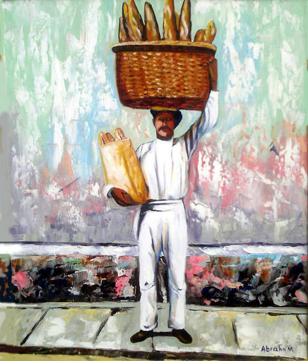 Bread Art Print featuring the painting Breadman by Jose Manuel Abraham
