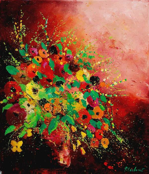 Flowers Art Print featuring the painting Bunch Of Flowers 0507 by Pol Ledent