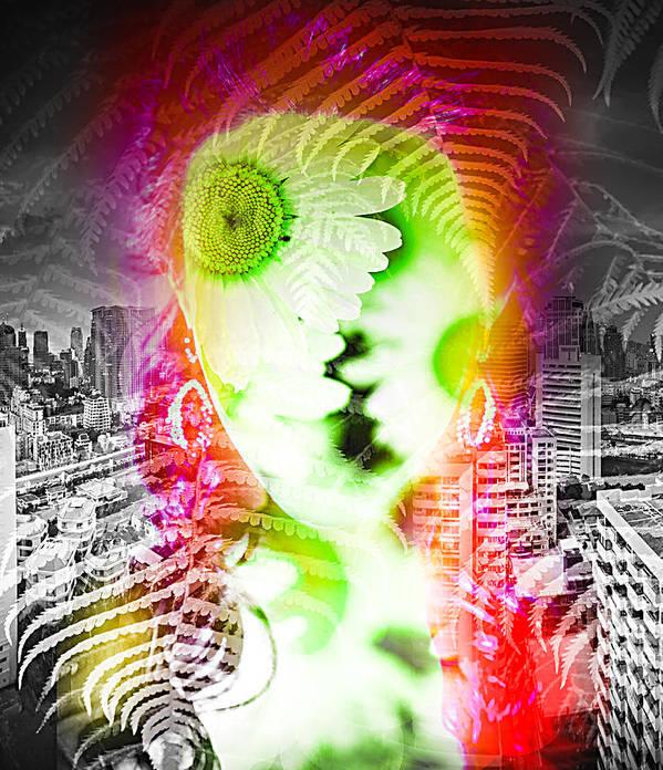 Surrealism Art Print featuring the digital art City Flower by Anastasiia Klymenko