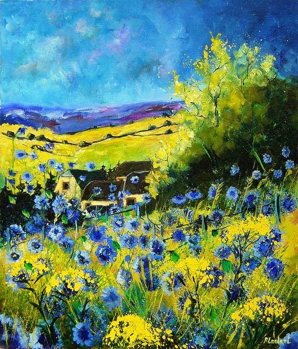 Flowers Art Print featuring the painting Cornflowers In Ver by Pol Ledent