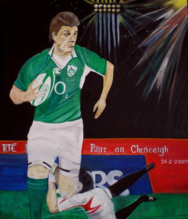 Brian O Driscoll Art Print featuring the painting Croker by Colin O neill