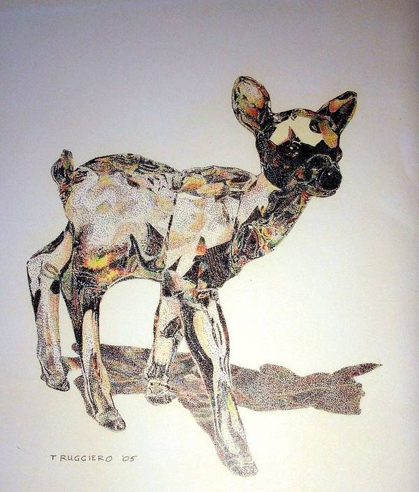 Deer Fawn Crystal Figurine Swarovsky Art Print featuring the painting Crystal by Tony Ruggiero
