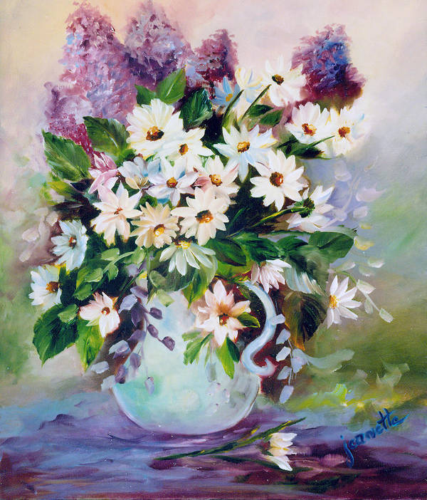 Floral Art Print featuring the painting Daisies And Lilacs by Jeanette Fowler
