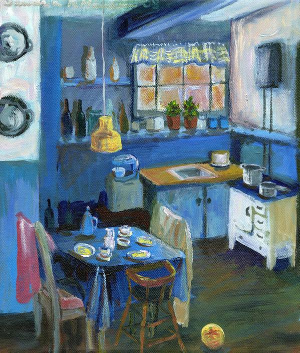 Denmark Art Print featuring the painting Danish Kitchen by Art Nomad Sandra Hansen