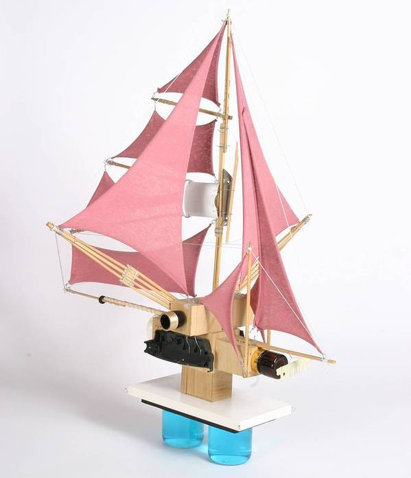 Sail Boat Assemblage Art Print featuring the mixed media dreamVessel No. 17 by Jeffrey Frisch