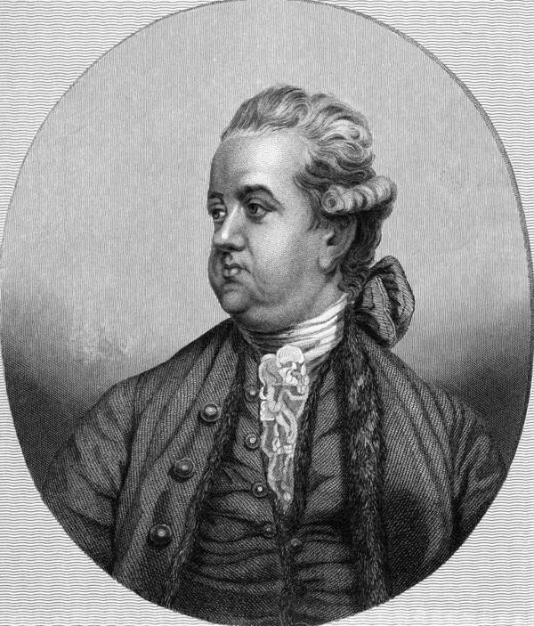 1700s Print featuring the photograph Edward Gibbon, English Historian by Middle Temple Library