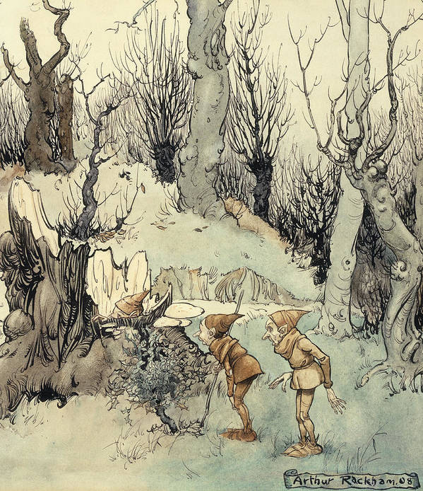 Arthur Print featuring the painting Elves In A Wood by Arthur Rackham