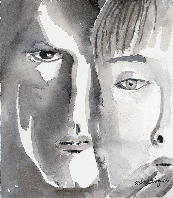 Faces Art Print featuring the painting Faces by Arline Wagner