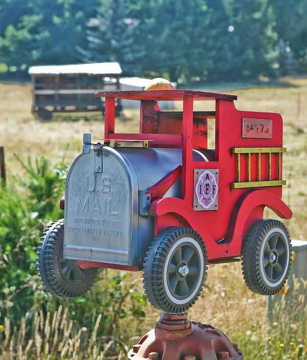 Mailbox Art Print featuring the photograph Firetruck Mailbox by Liz Santie