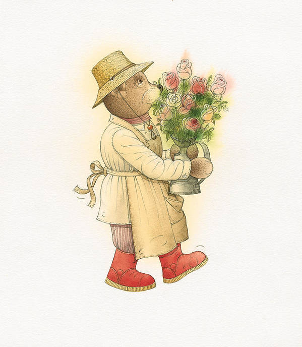 Love Garden Flowers Roses Bears Art Print featuring the painting Florentius The Gardener01 by Kestutis Kasparavicius