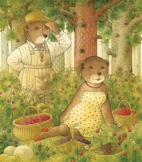 Bears Forest Love Flirt Berry Glamour Art Print featuring the painting Florentius The Gardener12 by Kestutis Kasparavicius