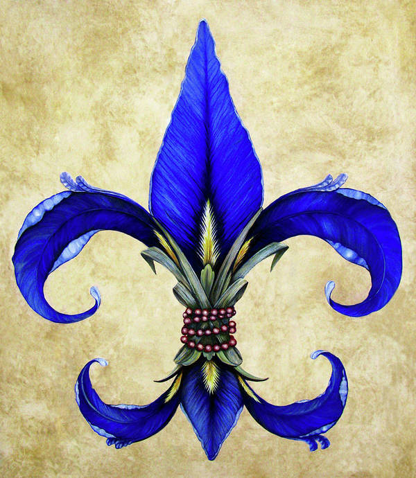 Fleur-de-lis Art Print featuring the painting Flower Of New Orleans Blue Iris by Judy Merrell