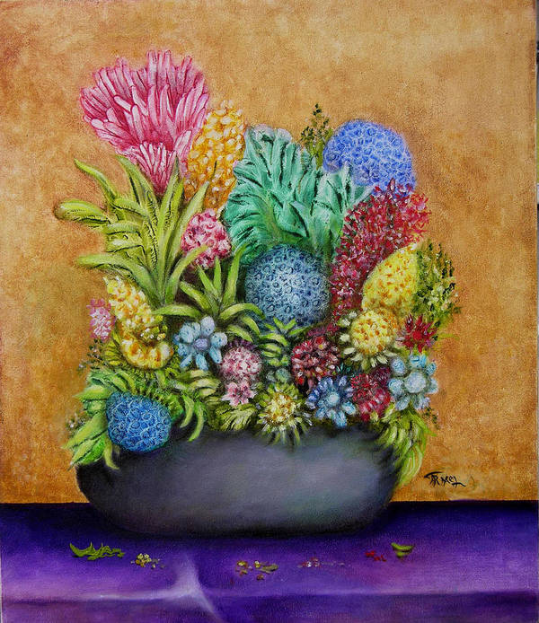 Flowers Art Print featuring the painting Flowers Base by Fernando Armel
