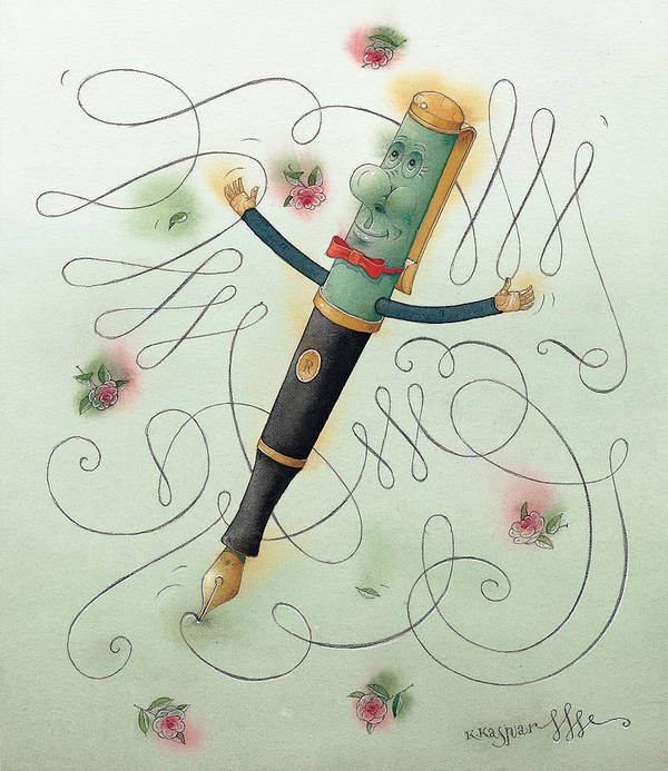 Pen Ice Winter Dance Slide Skate White Calligraphy Art Print featuring the painting Fountain-pen by Kestutis Kasparavicius