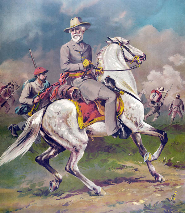America; American; Confderate; General; Generals; Soldier; Soldiers; Horseback; United States Art Print featuring the painting General Robert E Lee by American School