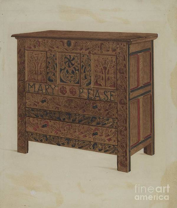 Art Print featuring the drawing Hadley Chest by Lawrence Foster