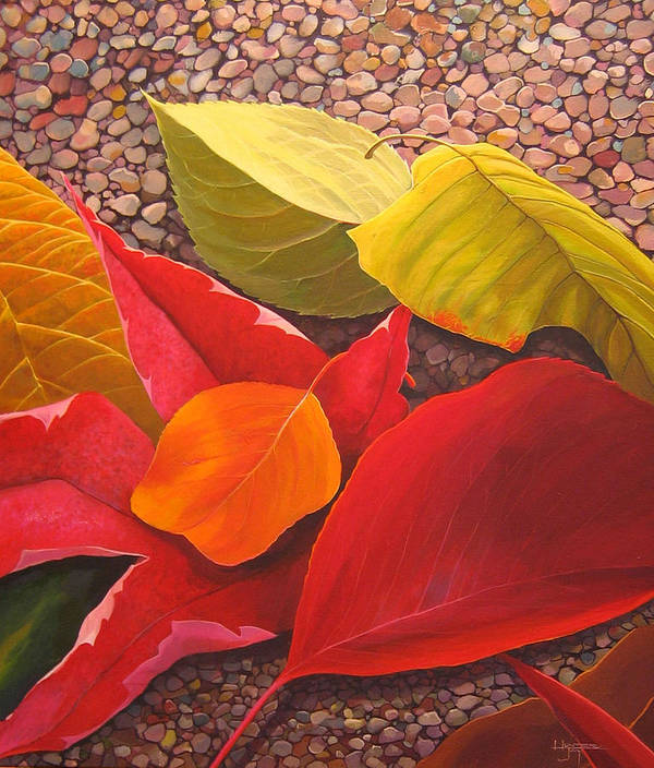Autumn Leaves Art Print featuring the painting Happy Landings by Hunter Jay
