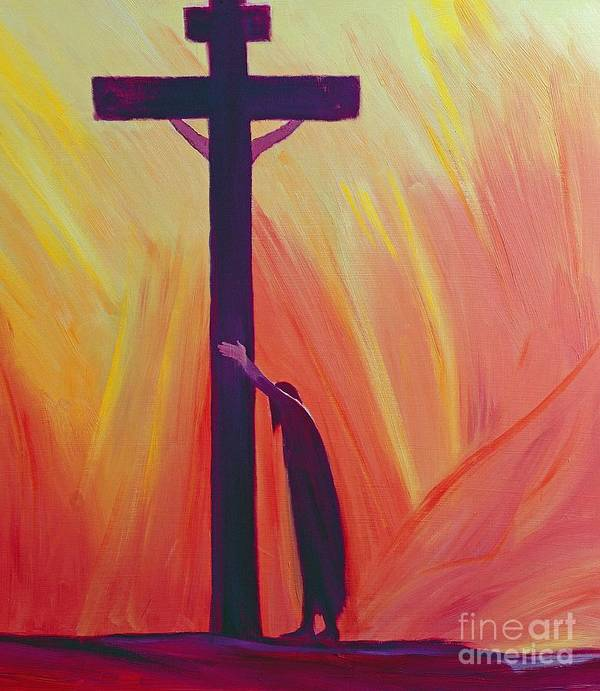 Jesus; Faith; Crucifix; Crucifixion; Salvation; Trust; Savior; God; Catholic; Christianity; Spirituality; Spiritual; Belief; Christ; Cross Art Print featuring the painting In Our Sufferings We Can Lean On The Cross By Trusting In Christ's Love by Elizabeth Wang