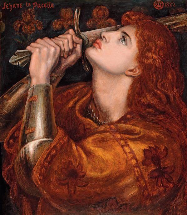 Dante Gabriel Rossetti Art Print featuring the painting Joan Of Arc by Dante Gabriel Rossetti