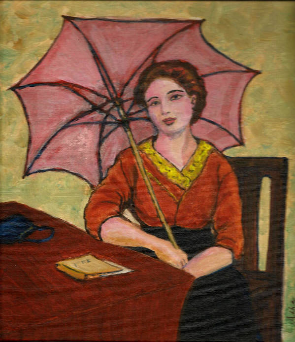 Art Print featuring the painting Lady With An Umbrella by Asha Sudhaker Shenoy