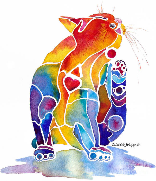 Cat Art Print featuring the painting Luv Cat by Jo Lynch