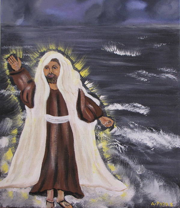 Miracle Art Print featuring the painting Miracle On The Water by Aleta Parks