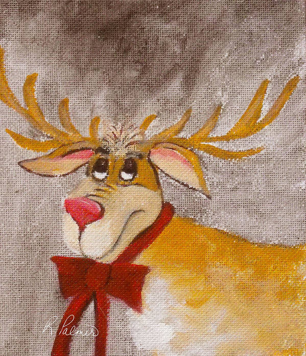 Animals Art Print featuring the painting Mr Reindeer by Ruth Palmer