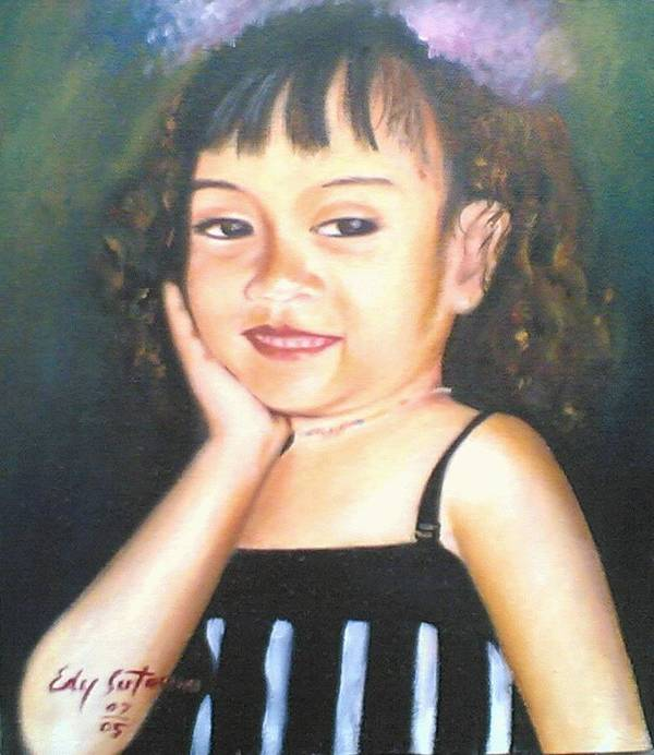 People Art Print featuring the painting My Little Daughter by Edy Sutowo