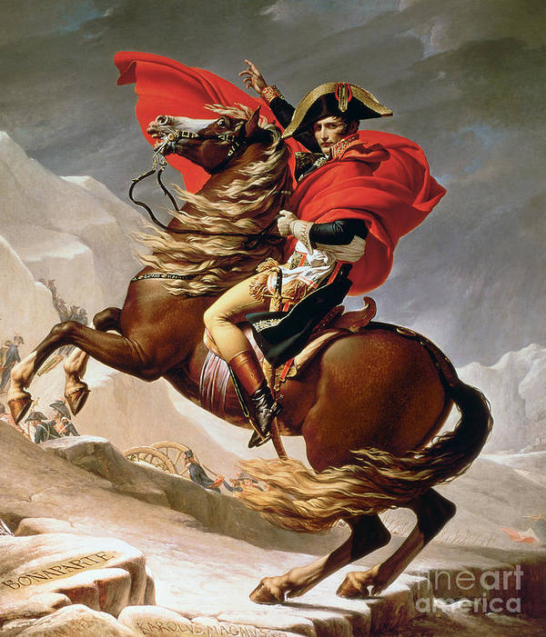 Bonaparte; Mounted; Portrait; Horse; Horseback; Male; Marengo; Rearing; Napoleon I; 1769-1821 Art Print featuring the painting Napoleon Crossing The Alps by Jacques Louis David