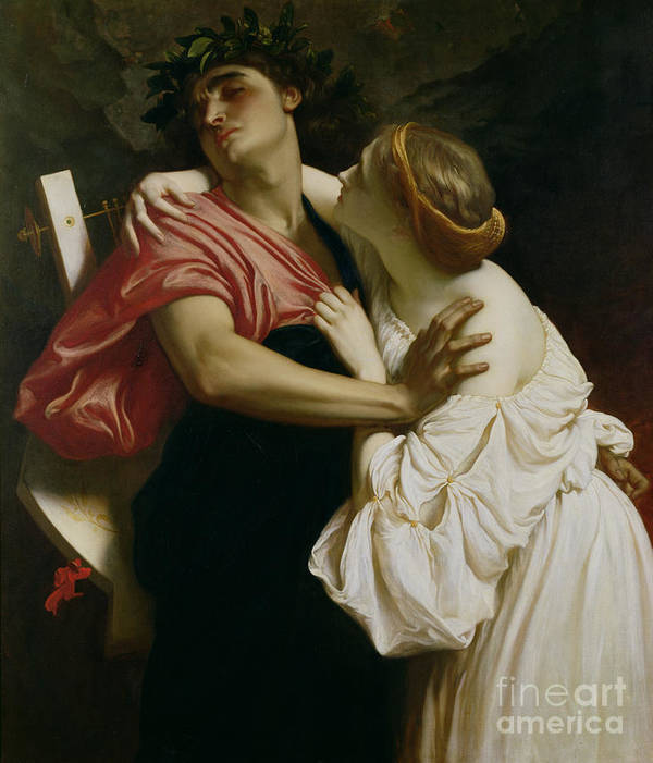 Orpheus And Euridyce (oil On Canvas) Poet; Husband; Wife; Wood Nymph; Lyre; Lovers; Music Art Print featuring the painting Orpheus And Euridyce by Frederic Leighton