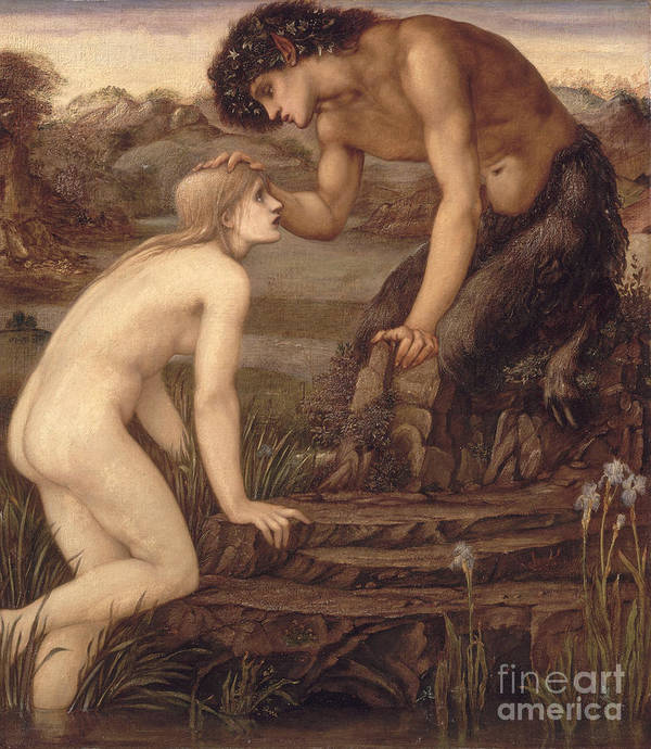 Pan And Psyche Art Print featuring the painting Pan And Psyche by Sir Edward Burne-Jones