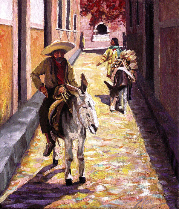 Impressionism Art Print featuring the painting Pulling Up The Rear In Mexico by Nancy Griswold